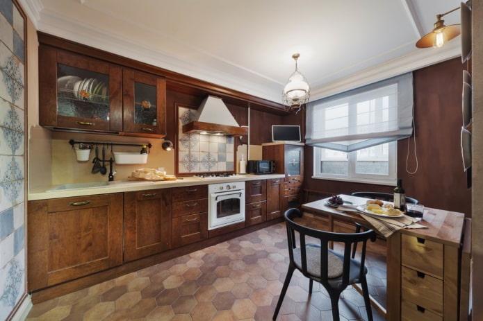 отделка кухни в коричневых тонах