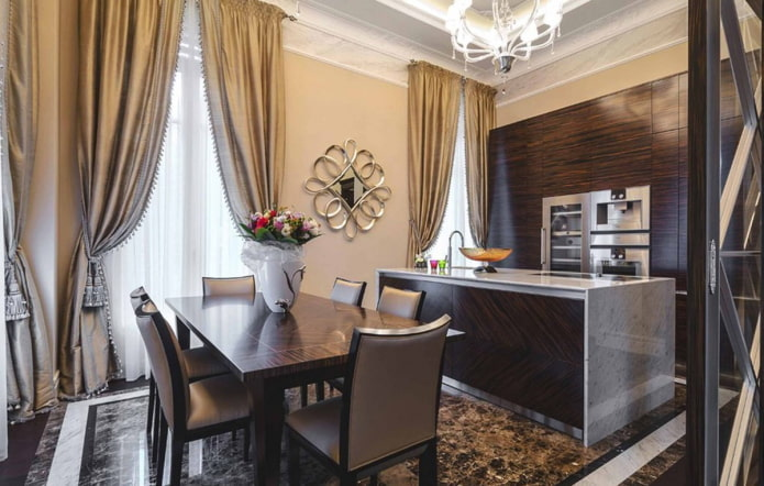 шторы в интерьере кухни в коричневых тонах