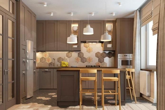 кухня в коричневых тонах в скандинавском стиле