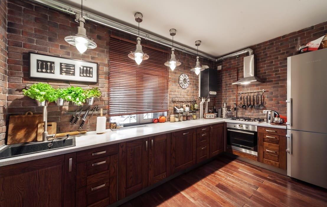 кухни в стиле лофт с кирпичом фото всех