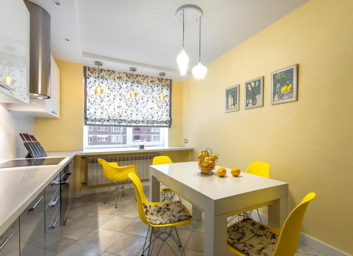 желтые акценты в интерьере кухни