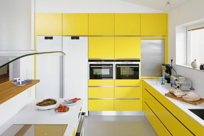 кухня в желтых тонах в современном стиле