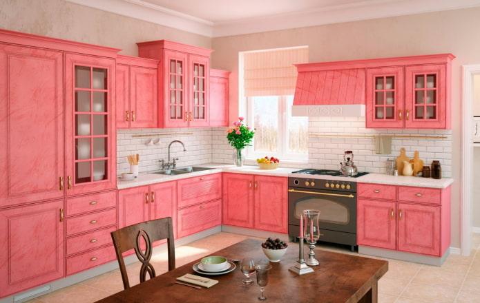 розовый интерьер кухни в стиле прованс