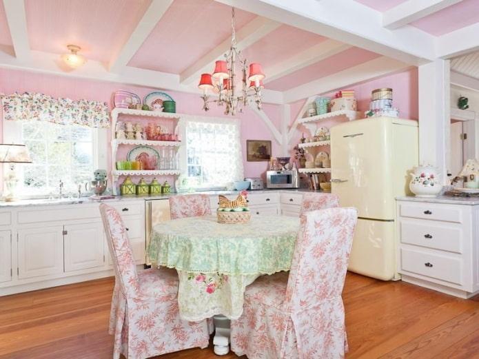 розовый интерьер кухни в стиле шебби-шик