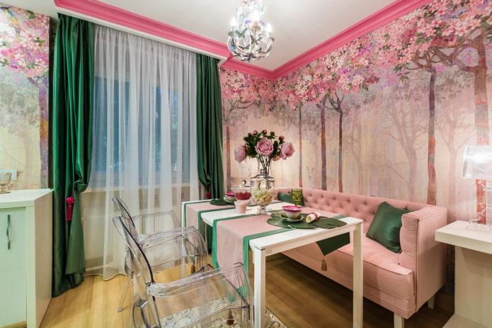 шторы в интерьере кухни в розовых тонах