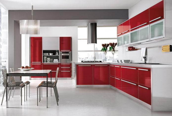 красный интерьер кухни в стиле хай-тек