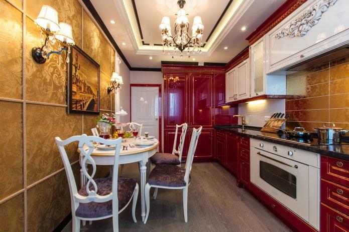 красный интерьер кухни в классическом стиле