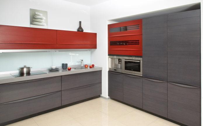 красный интерьер кухни в стиле минимализм