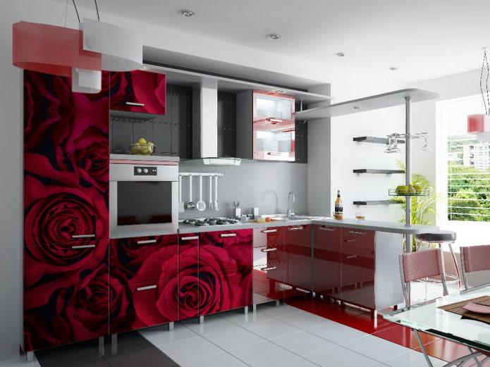 красный интерьер кухни в современном стиле