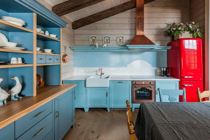 мебель в интерьере кухни в деревенской стилистике кантри