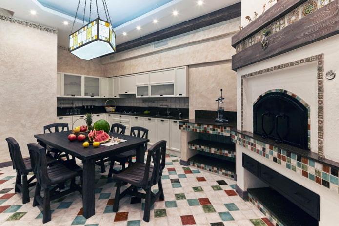 отделка кухни в деревенской стилистике кантри