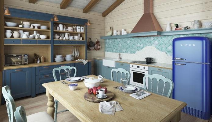 интерьер кухни в деревенской стилистике кантри