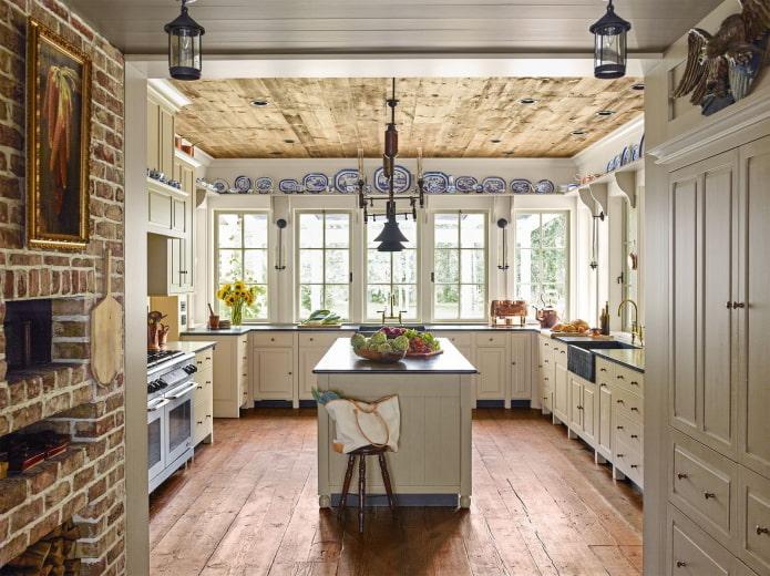 кухня в деревенском стиле в интерьере дома