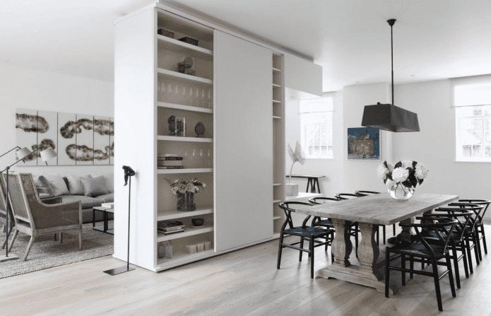 зонирование шкафом в интерьере кухни-гостиной