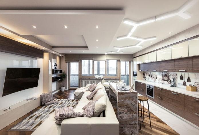 зонирование многоуровневыми конструкциями в интерьере кухни-гостиной