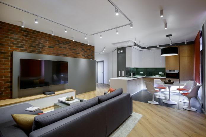 зонирование отделочными материалами в интерьере кухни-гостиной