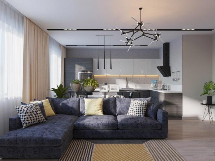 зонирование диваном в интерьере кухни-гостиной