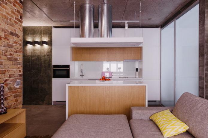 зонирование островом в интерьере кухни-гостиной