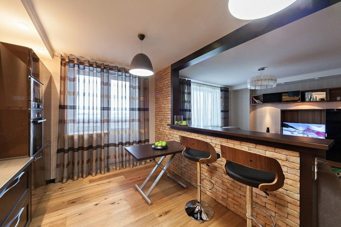 зонирование барной стойкой в интерьере кухни-гостиной