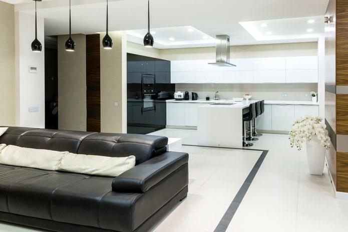 зонирование освещением в интерьере кухни-гостиной