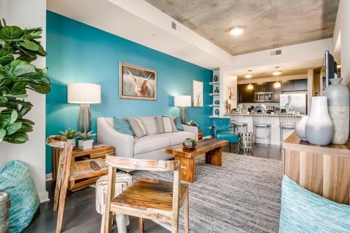 зонирование цветом в интерьере кухни-гостиной