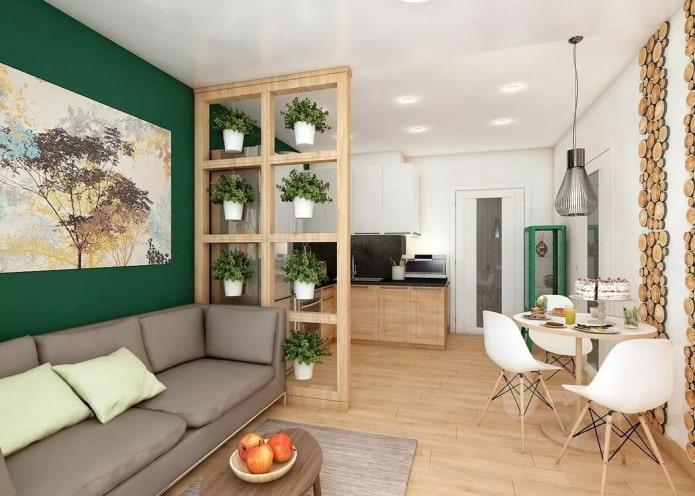 оригинальный вариант зонирования в интерьере кухни-гостиной