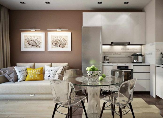 диван-кровать в интерьере кухни