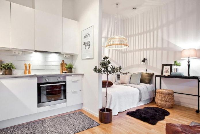 кровать в интерьере кухни