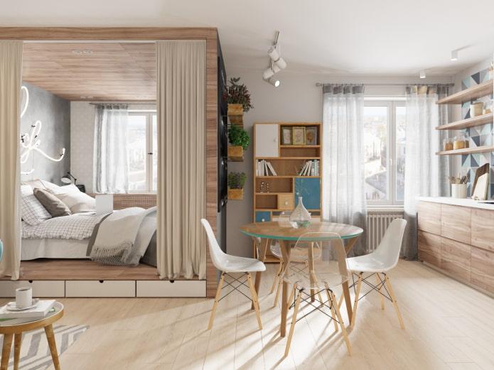 спальное место за шторами в интерьере кухни
