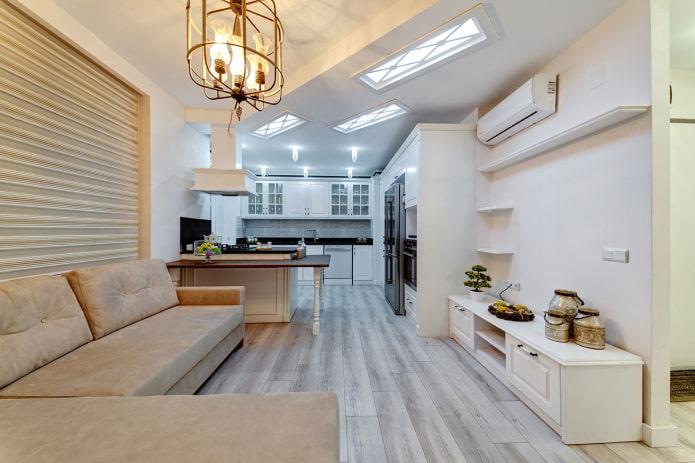 визуальное зонирование кухни-спальни