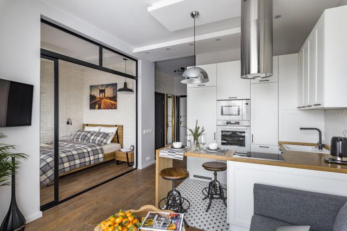 кровать в нише в интерьере кухни