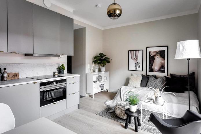 интерьер маленькой кухни-спальни