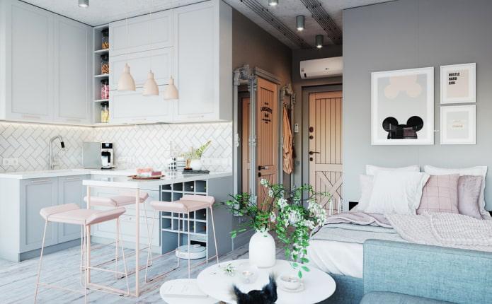 дизайн интерьера кухни-спальни