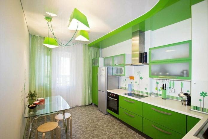 шторы в интерьере кухни в салатовых тонах