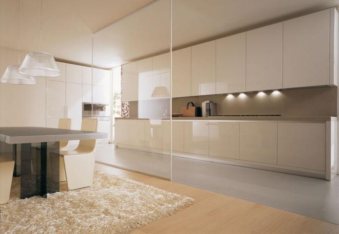 бежевый интерьер кухни в стиле минимализм