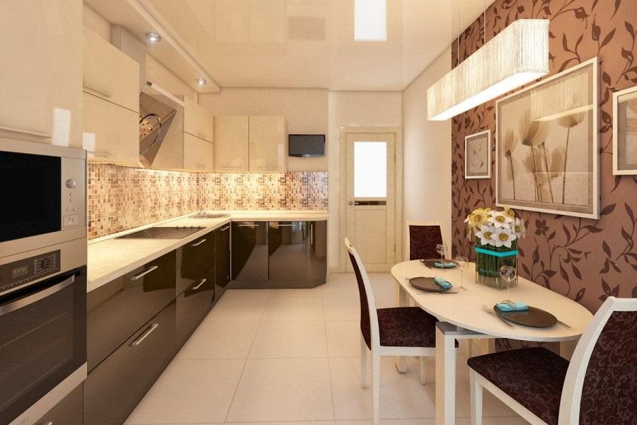 выбор дизайн бело коричневой кухни фото плечи