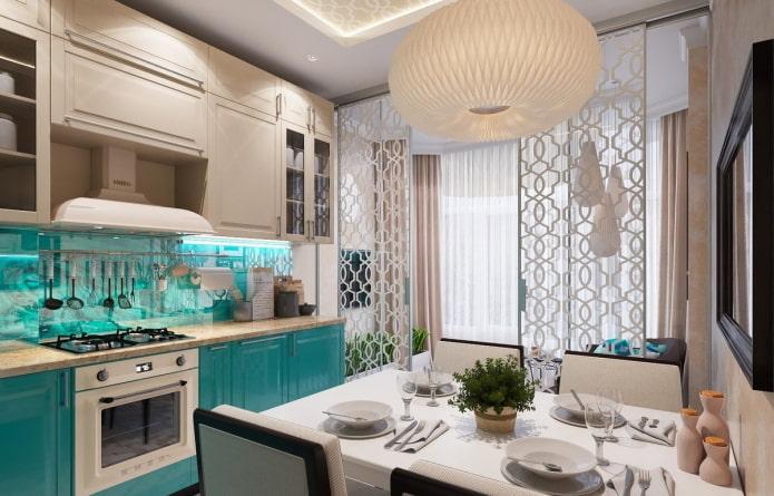 бежевый интерьер кухни с яркими акцентами