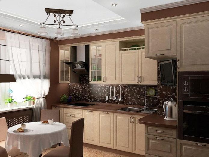 интерьер кухни в бежево-коричневых тонах