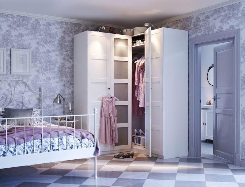 Гардеробная в спальне: 60 фото, идеи дизайна, зонирование Дизайн Спальни С Угловой Гардеробной