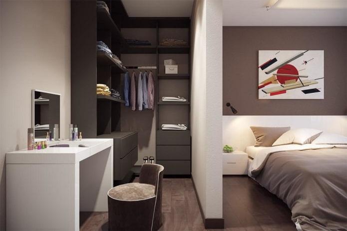 оформление гардероба в интерьере спальни
