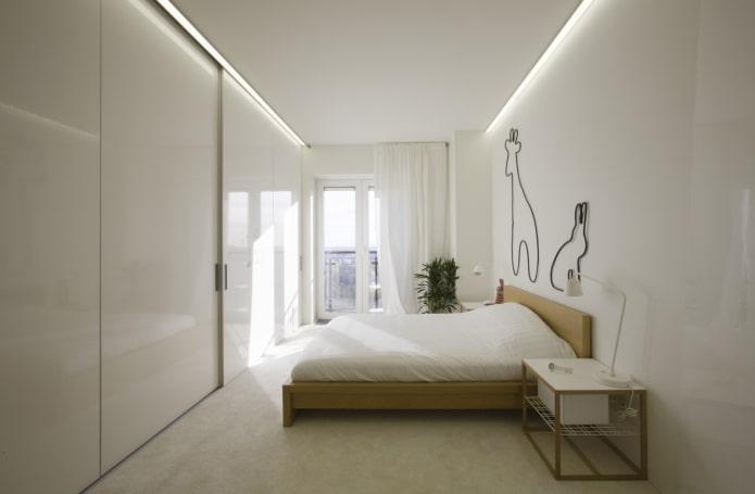 узкая спальня комната в стиле минимализм