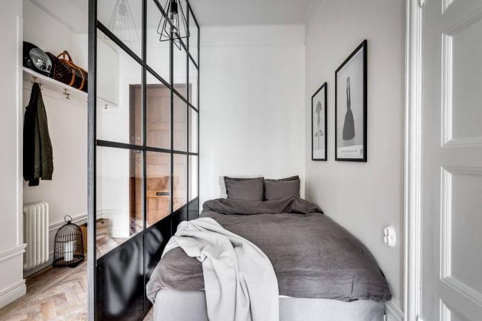 планировка и зонирование узкой спальной комнаты