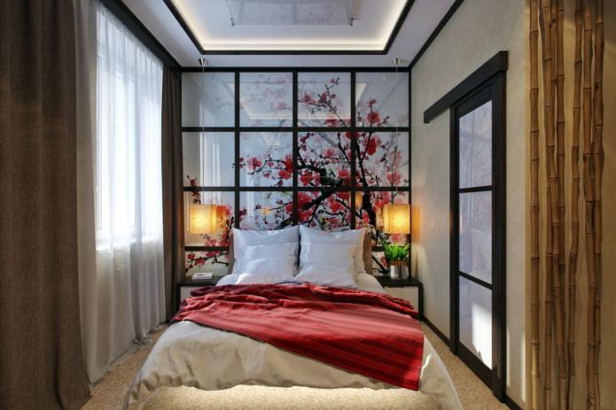узкая спальня комната в японском стиле