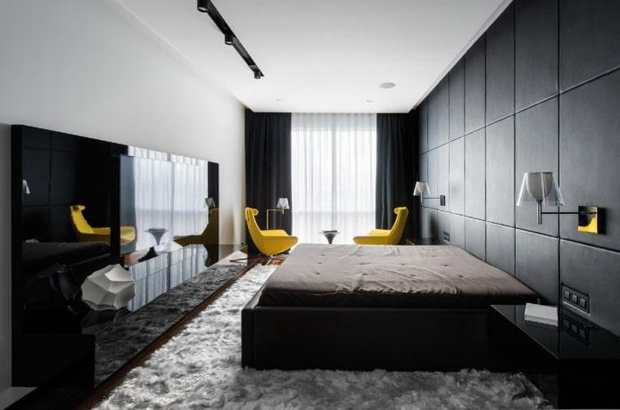 узкая спальня комната в современном стиле
