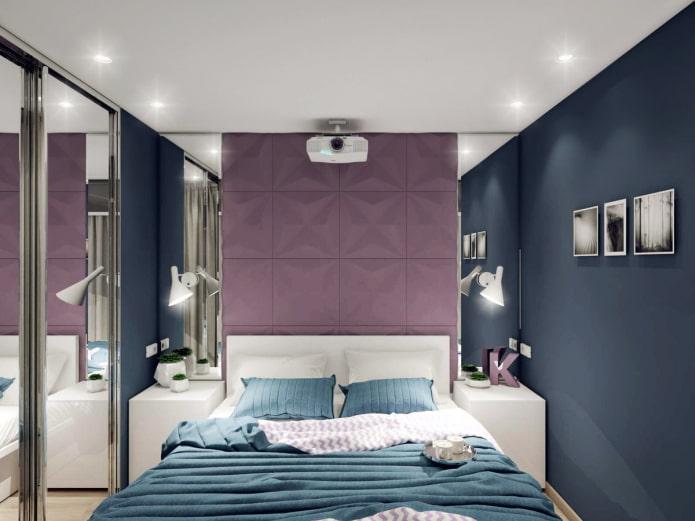 дизайн интерьера узкой спальной комнаты