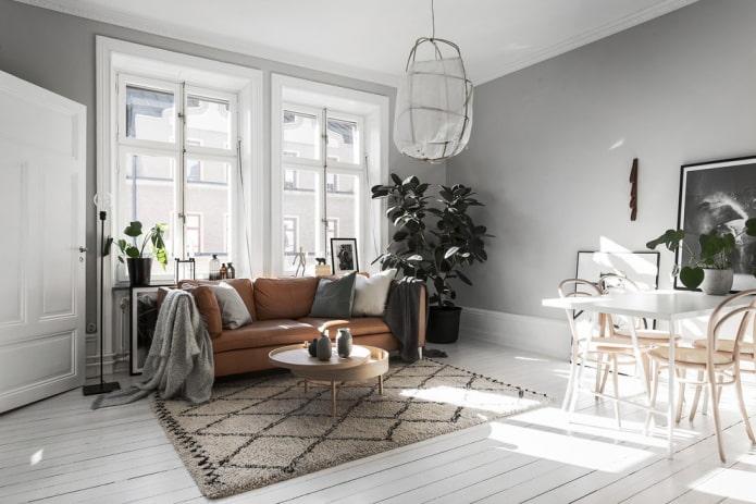 интерьер гостиной в нордическом стиле