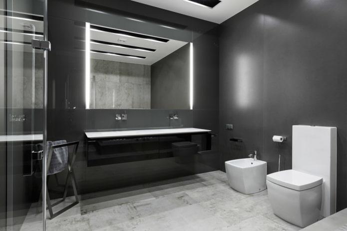 дизайн ванной комнаты в серых оттенках