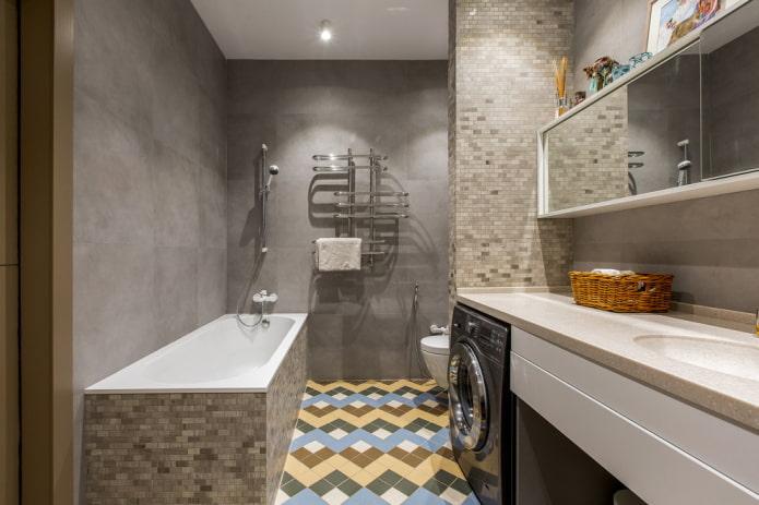 отделка ванной комнаты в серых тонах