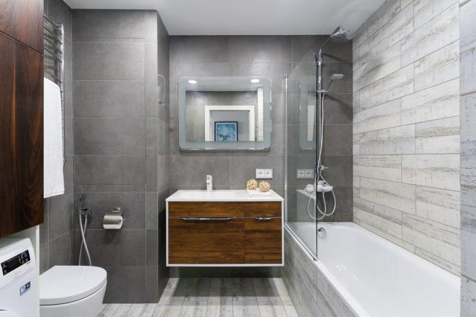 интерьер ванной в бело-серых тонах