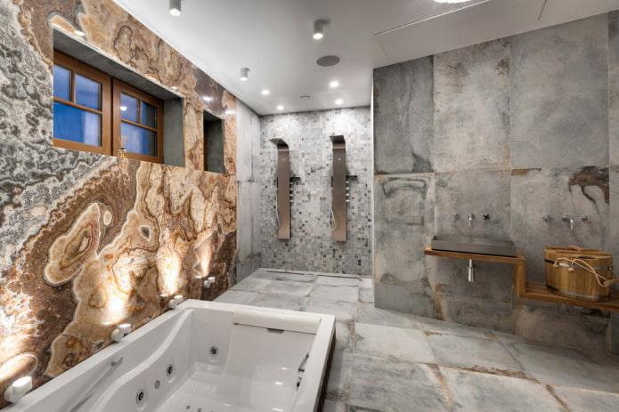 серый интерьер ванной в современном стиле